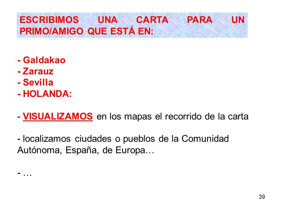39 - Galdakao - Zarauz - Sevilla - HOLANDA: - VISUALIZAMOS en los mapas el recorrido de la carta - localizamos ciudades o pueblos de la Comunidad Autó