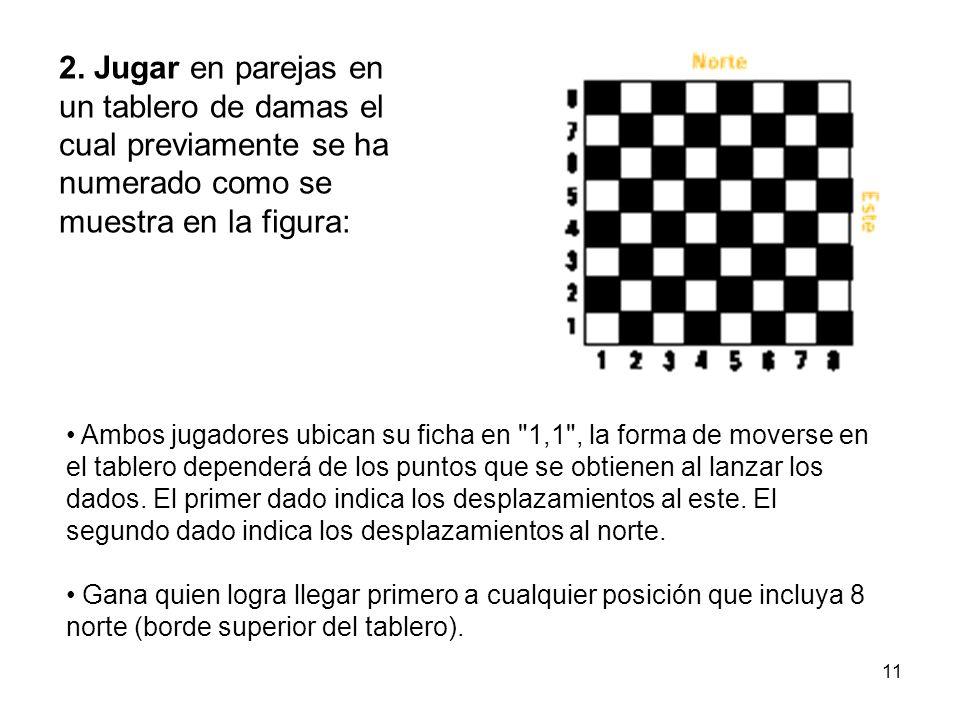 11 2. Jugar en parejas en un tablero de damas el cual previamente se ha numerado como se muestra en la figura: Ambos jugadores ubican su ficha en