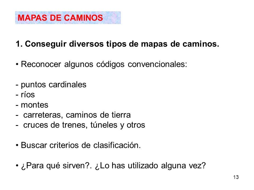 13 MAPAS DE CAMINOS 1. Conseguir diversos tipos de mapas de caminos. Reconocer algunos códigos convencionales: - puntos cardinales - ríos - montes - c