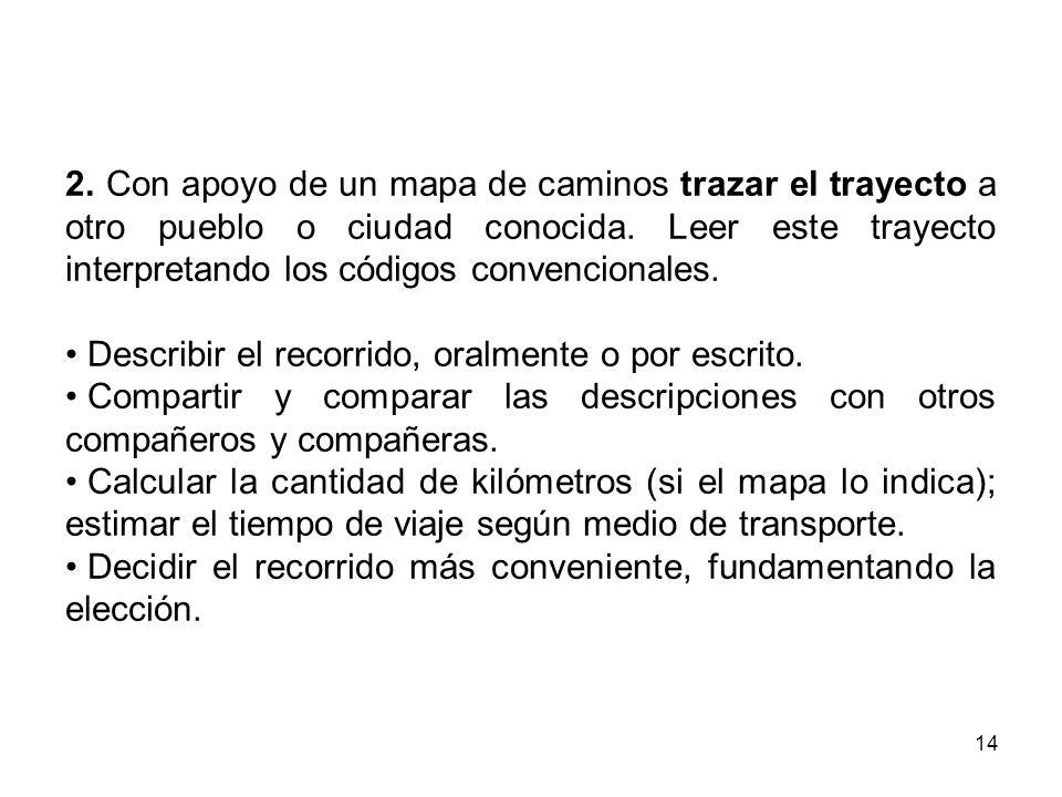14 2. Con apoyo de un mapa de caminos trazar el trayecto a otro pueblo o ciudad conocida. Leer este trayecto interpretando los códigos convencionales.