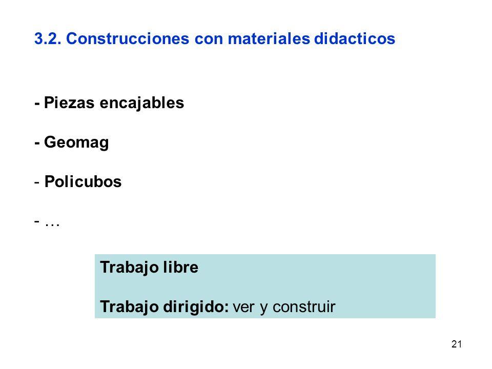 21 3.2. Construcciones con materiales didacticos - Piezas encajables - Geomag - Policubos - … Trabajo libre Trabajo dirigido: ver y construir