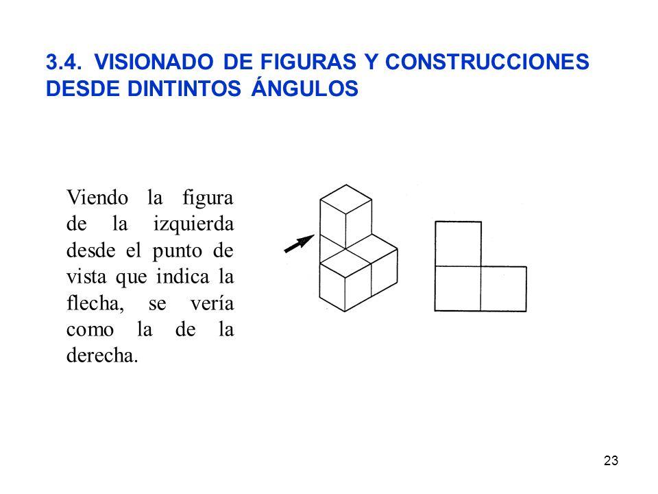23 3.4. VISIONADO DE FIGURAS Y CONSTRUCCIONES DESDE DINTINTOS ÁNGULOS Viendo la figura de la izquierda desde el punto de vista que indica la flecha, s