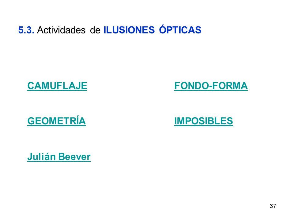 37 5.3. Actividades de ILUSIONES ÓPTICAS CAMUFLAJEFONDO-FORMA GEOMETRÍAIMPOSIBLES Julián Beever