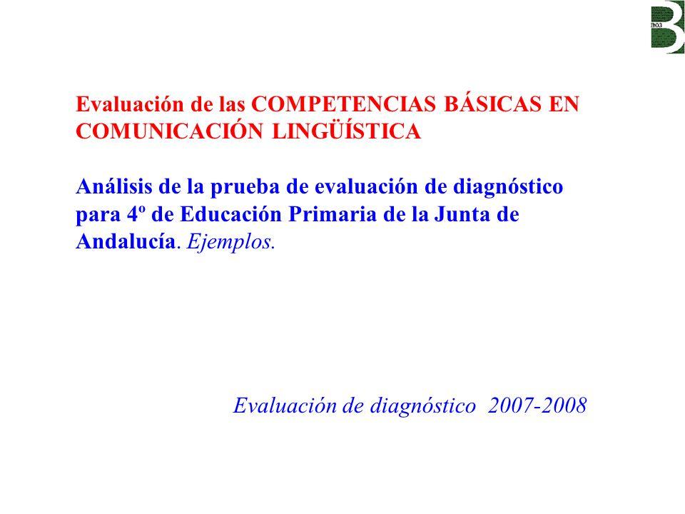 Evaluación de las COMPETENCIAS BÁSICAS EN COMUNICACIÓN LINGÜÍSTICA Análisis de la prueba de evaluación de diagnóstico para 4º de Educación Primaria de