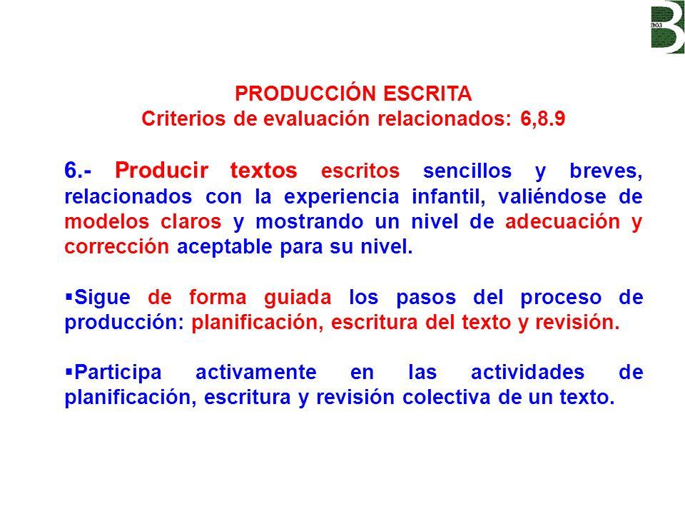 PRODUCCIÓN ESCRITA Criterios de evaluación relacionados: 6,8.9 6.- Producir textos escritos sencillos y breves, relacionados con la experiencia infant