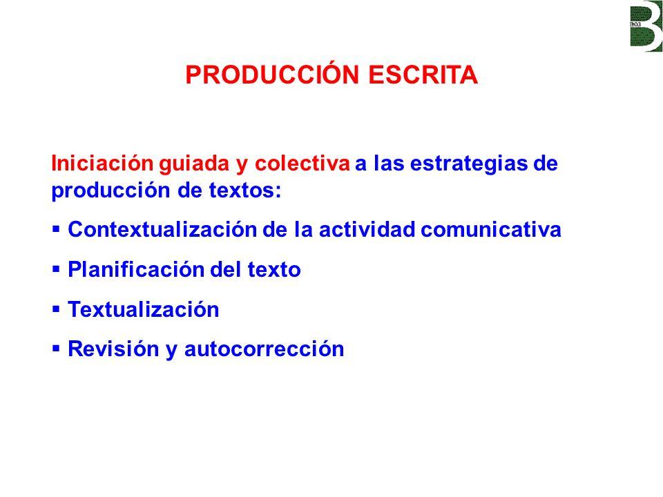 PRODUCCIÓN ESCRITA Iniciación guiada y colectiva a las estrategias de producción de textos: Contextualización de la actividad comunicativa Planificaci