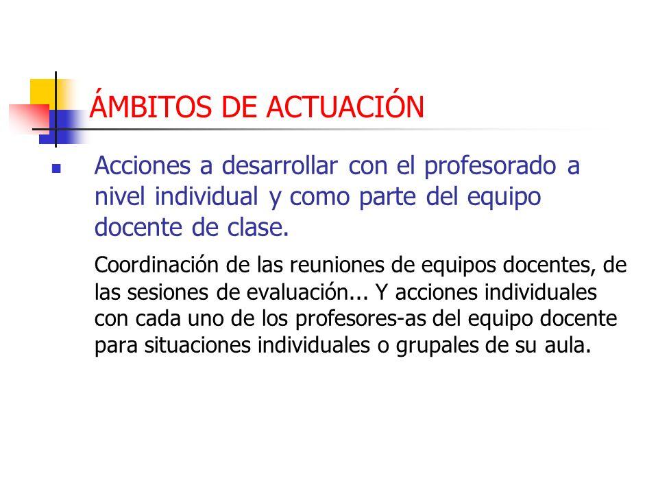 ÁMBITOS DE ACTUACIÓN Acciones a desarrollar con el profesorado a nivel individual y como parte del equipo docente de clase. Coordinación de las reunio