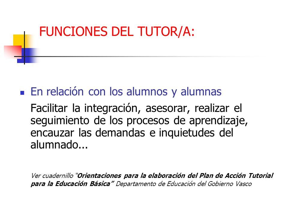 FUNCIONES DEL TUTOR/A: En relación con los alumnos y alumnas Facilitar la integración, asesorar, realizar el seguimiento de los procesos de aprendizaj