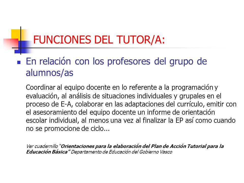 FUNCIONES DEL TUTOR/A: En relación con los profesores del grupo de alumnos/as Coordinar al equipo docente en lo referente a la programación y evaluaci