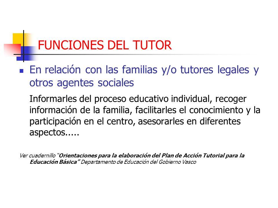 FUNCIONES DEL TUTOR En relación con las familias y/o tutores legales y otros agentes sociales Informarles del proceso educativo individual, recoger in