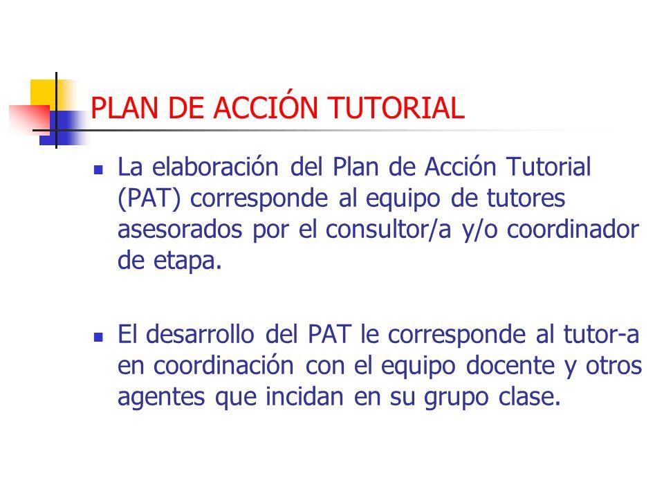 PLAN DE ACCIÓN TUTORIAL La elaboración del Plan de Acción Tutorial (PAT) corresponde al equipo de tutores asesorados por el consultor/a y/o coordinado