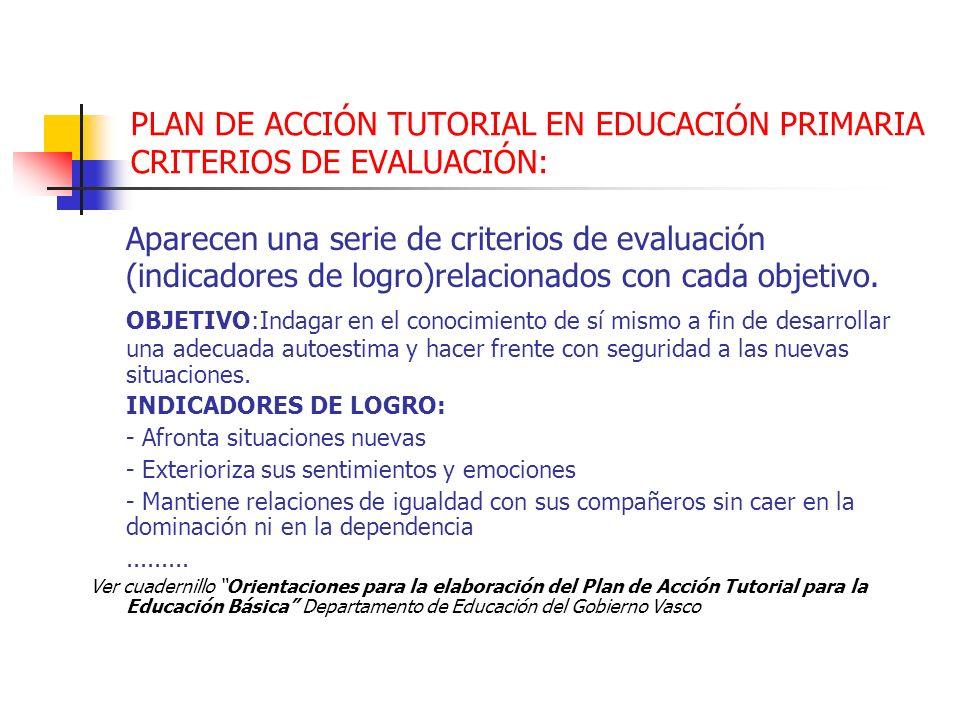 PLAN DE ACCIÓN TUTORIAL EN EDUCACIÓN PRIMARIA CRITERIOS DE EVALUACIÓN: Aparecen una serie de criterios de evaluación (indicadores de logro)relacionado