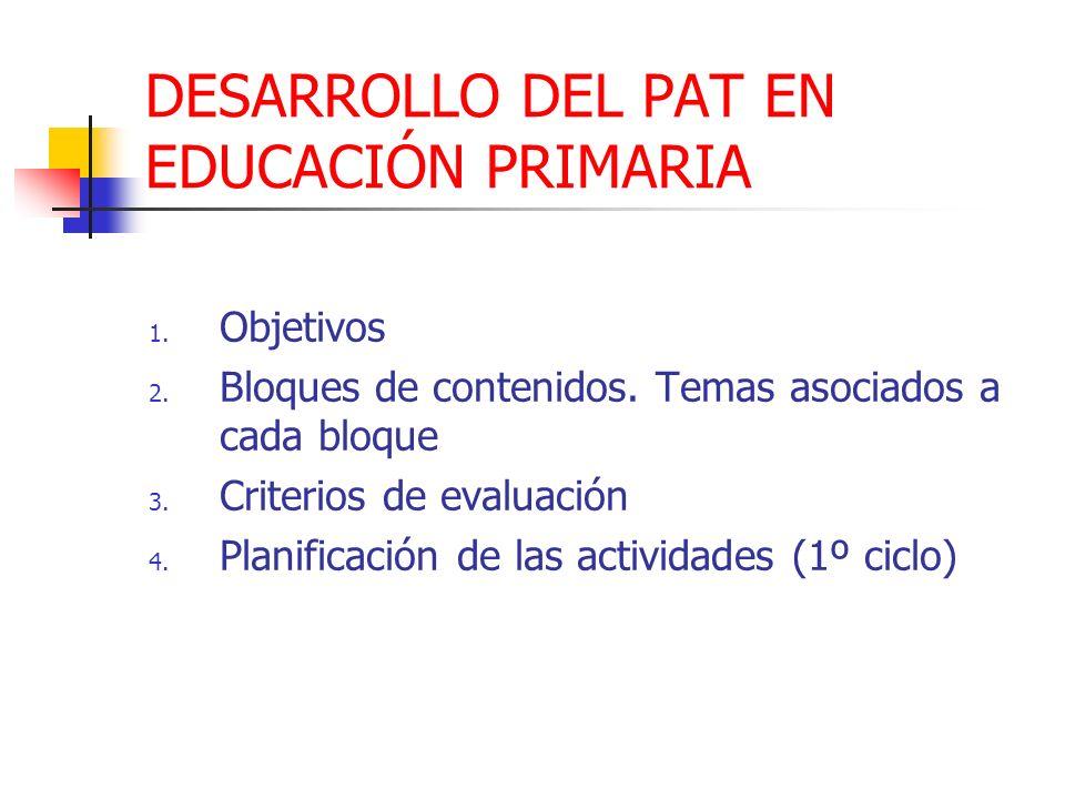 DESARROLLO DEL PAT EN EDUCACIÓN PRIMARIA 1. Objetivos 2. Bloques de contenidos. Temas asociados a cada bloque 3. Criterios de evaluación 4. Planificac
