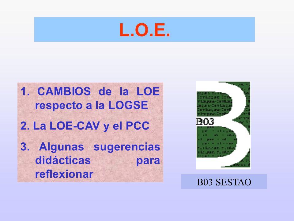 1. CAMBIOS de la LOE respecto a la LOGSE 2. La LOE-CAV y el PCC 3. Algunas sugerencias didácticas para reflexionar L.O.E. B03 SESTAO