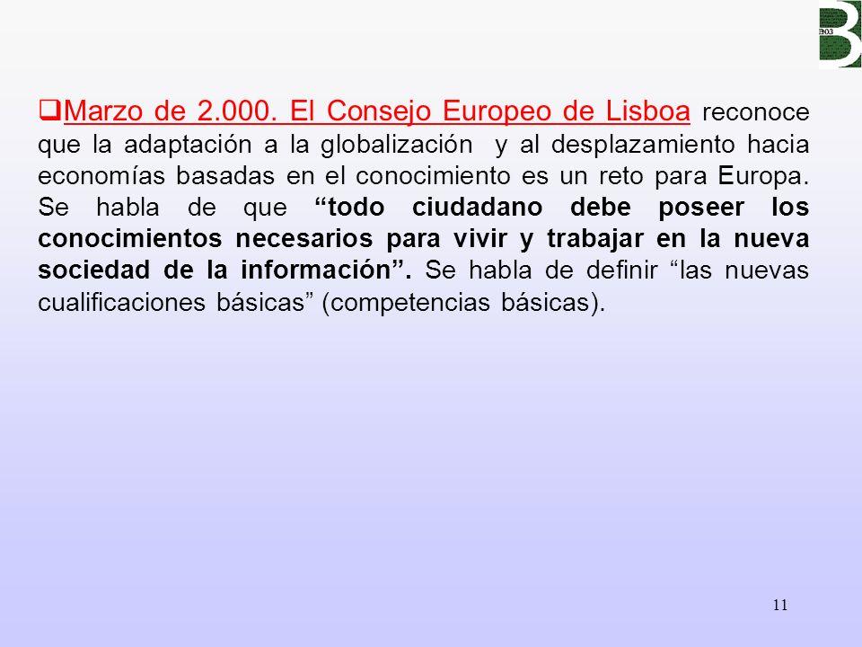 11 Marzo de 2.000. El Consejo Europeo de Lisboa reconoce que la adaptación a la globalización y al desplazamiento hacia economías basadas en el conoci