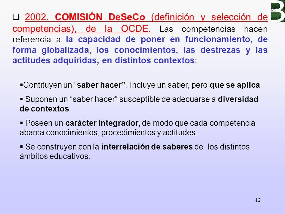 12 2002. COMISIÓN DeSeCo (definición y selección de competencias), de la OCDE. Las competencias hacen referencia a la capacidad de poner en funcionami