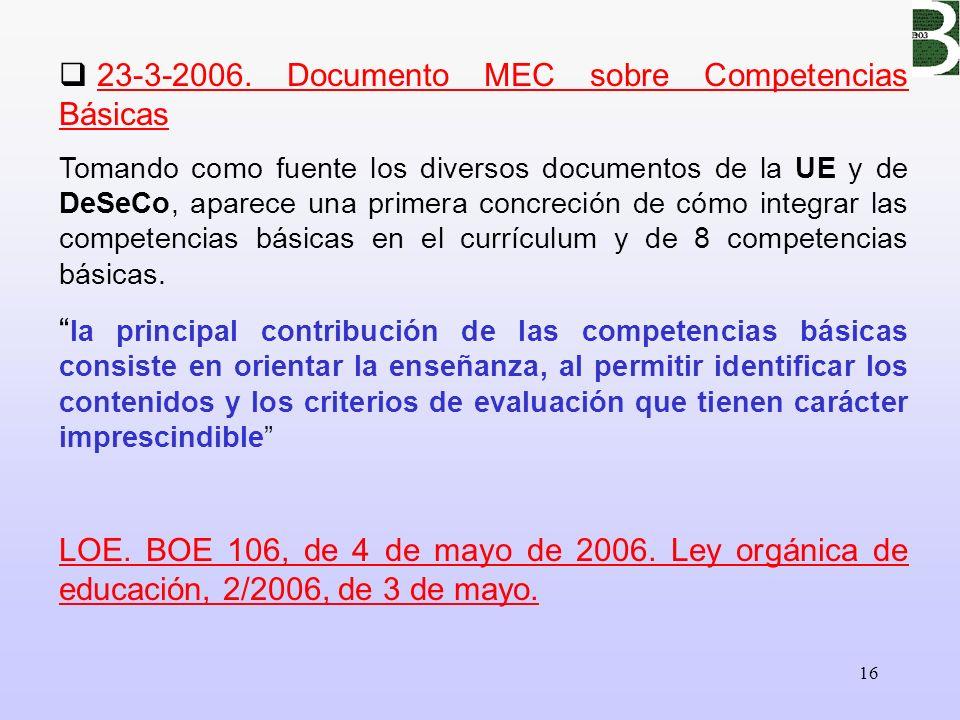 16 23-3-2006. Documento MEC sobre Competencias Básicas Tomando como fuente los diversos documentos de la UE y de DeSeCo, aparece una primera concreció