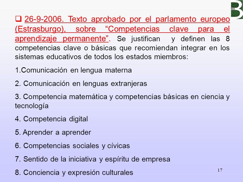 17 26-9-2006. Texto aprobado por el parlamento europeo (Estrasburgo), sobre Competencias clave para el aprendizaje permanente. Se justifican y definen
