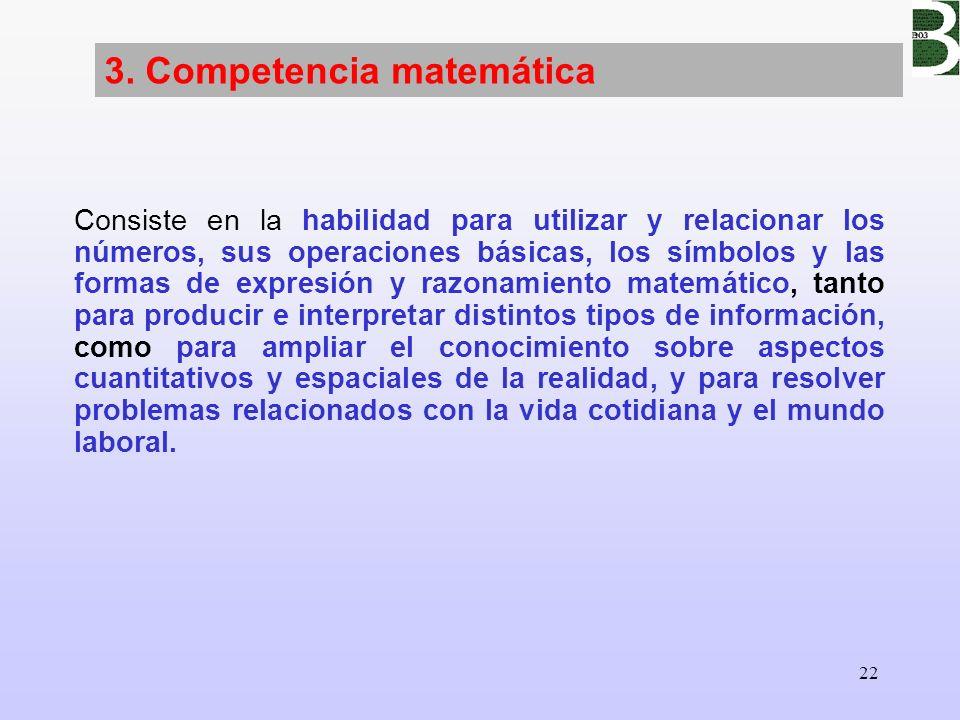 22 3. Competencia matemática Consiste en la habilidad para utilizar y relacionar los números, sus operaciones básicas, los símbolos y las formas de ex