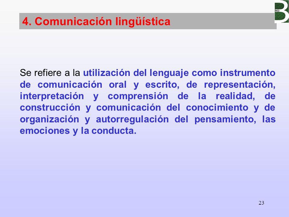 23 4. Comunicación lingüística Se refiere a la utilización del lenguaje como instrumento de comunicación oral y escrito, de representación, interpreta