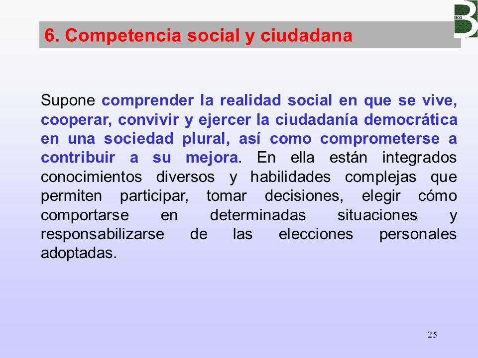 25 6. Competencia social y ciudadana Supone comprender la realidad social en que se vive, cooperar, convivir y ejercer la ciudadanía democrática en un