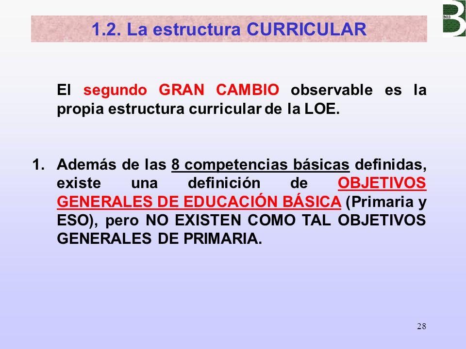 28 El segundo GRAN CAMBIO observable es la propia estructura curricular de la LOE. 1.Además de las 8 competencias básicas definidas, existe una defini