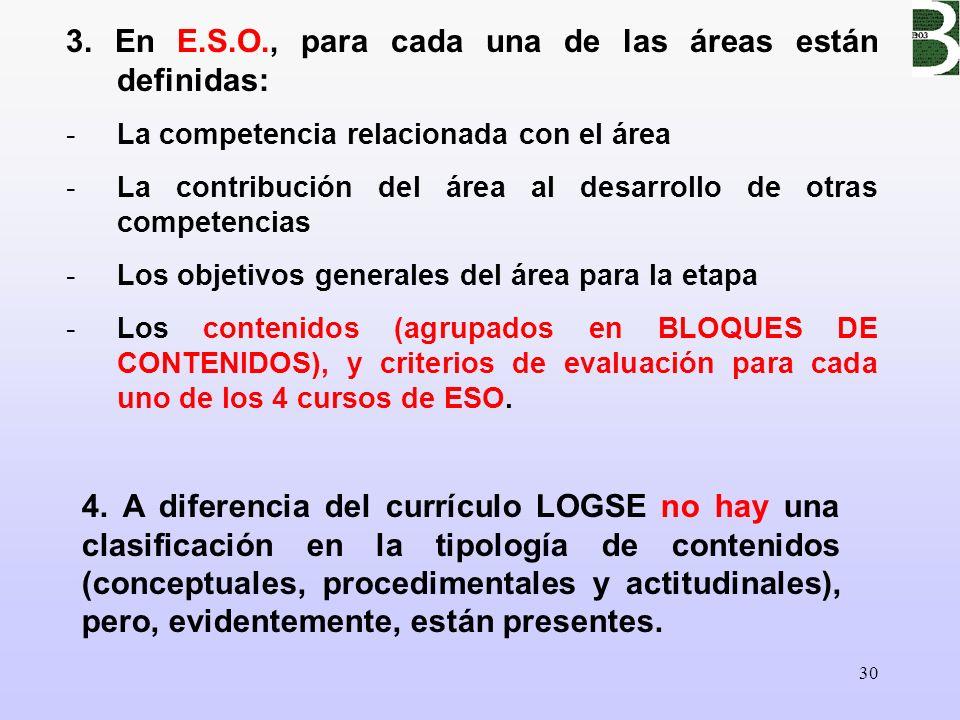 30 3. En E.S.O., para cada una de las áreas están definidas: -La competencia relacionada con el área -La contribución del área al desarrollo de otras