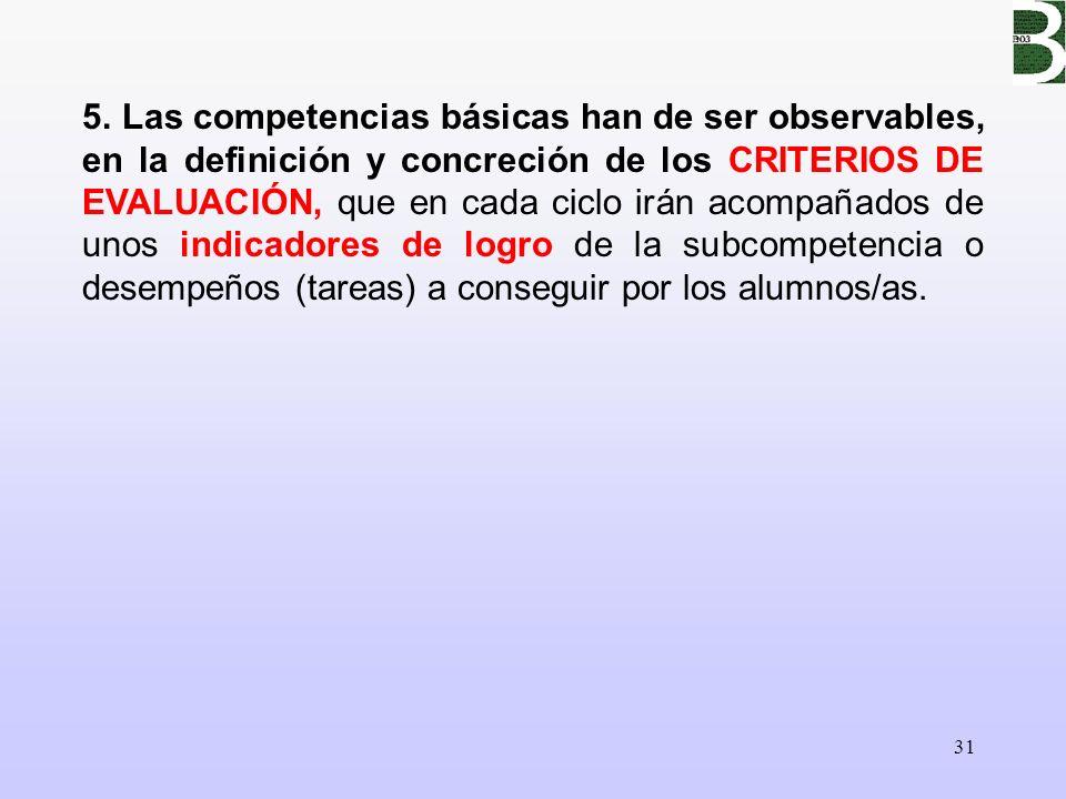 31 5. Las competencias básicas han de ser observables, en la definición y concreción de los CRITERIOS DE EVALUACIÓN, que en cada ciclo irán acompañado