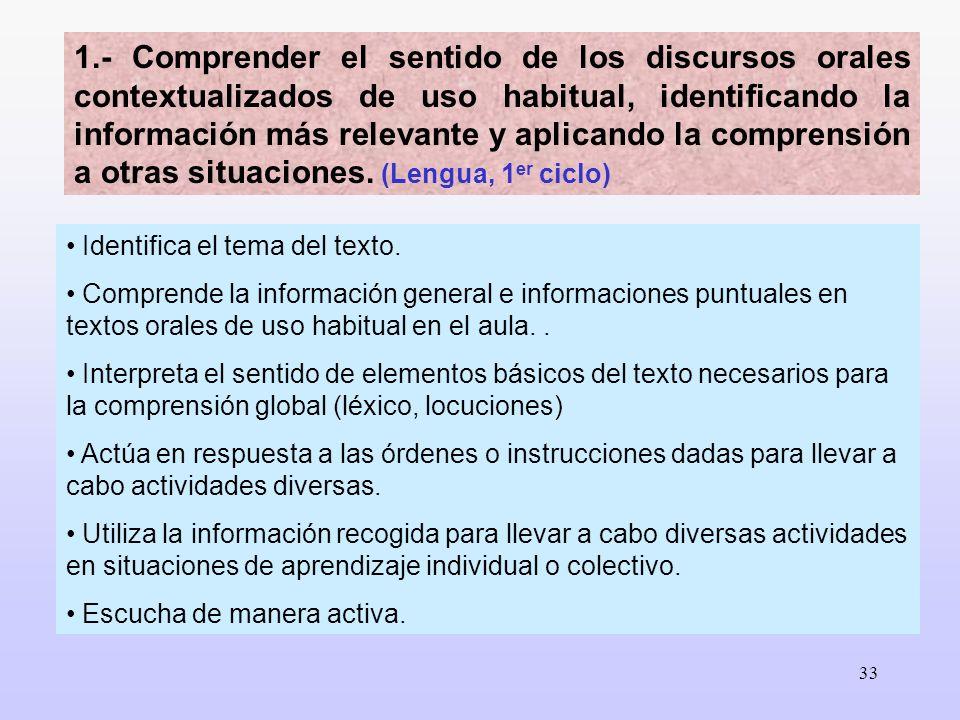 33 Identifica el tema del texto. Comprende la información general e informaciones puntuales en textos orales de uso habitual en el aula.. Interpreta e