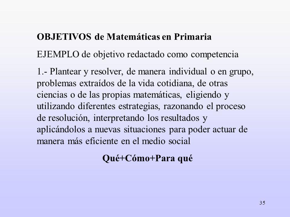 35 OBJETIVOS de Matemáticas en Primaria EJEMPLO de objetivo redactado como competencia 1.- Plantear y resolver, de manera individual o en grupo, probl