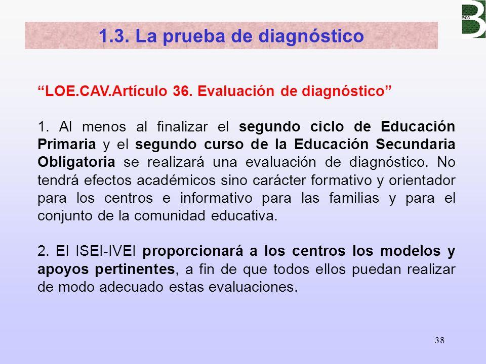 38 1.3. La prueba de diagnóstico LOE.CAV.Artículo 36. Evaluación de diagnóstico 1. Al menos al finalizar el segundo ciclo de Educación Primaria y el s