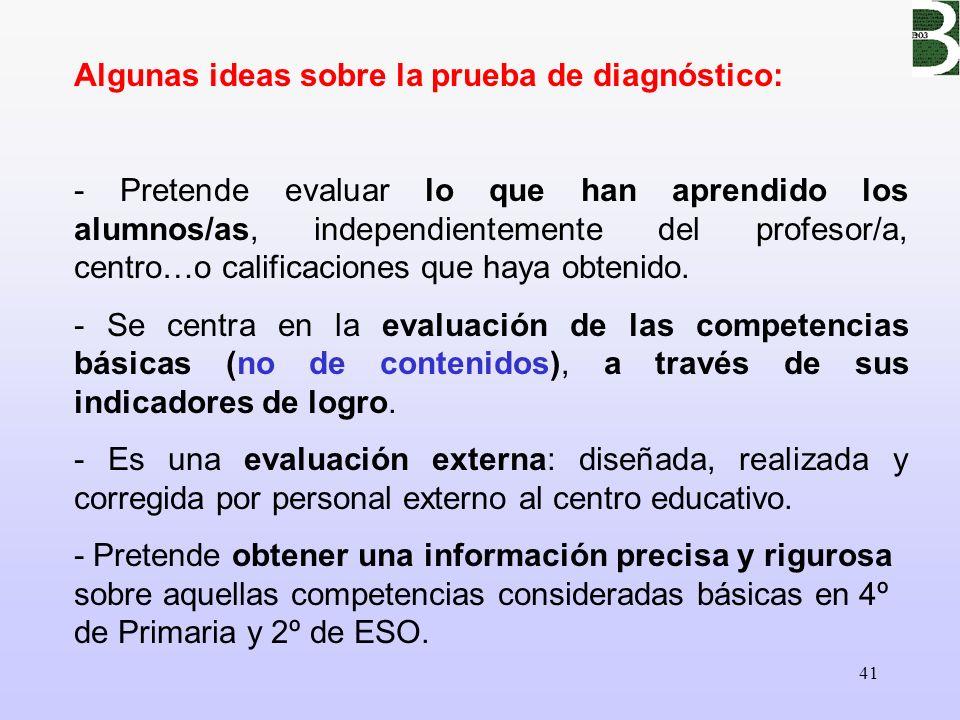 41 Algunas ideas sobre la prueba de diagnóstico: - Pretende evaluar lo que han aprendido los alumnos/as, independientemente del profesor/a, centro…o c