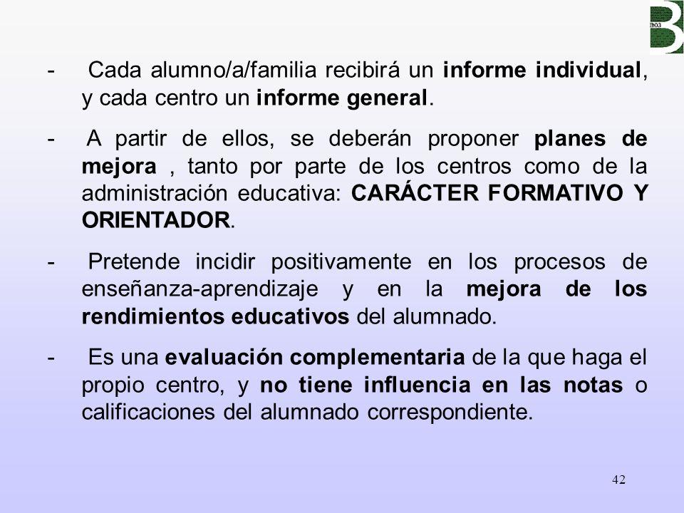 42 - Cada alumno/a/familia recibirá un informe individual, y cada centro un informe general. - A partir de ellos, se deberán proponer planes de mejora