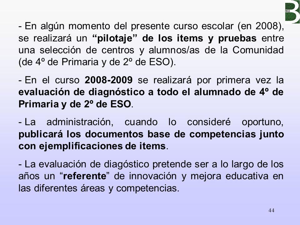 44 - En algún momento del presente curso escolar (en 2008), se realizará un pilotaje de los items y pruebas entre una selección de centros y alumnos/a