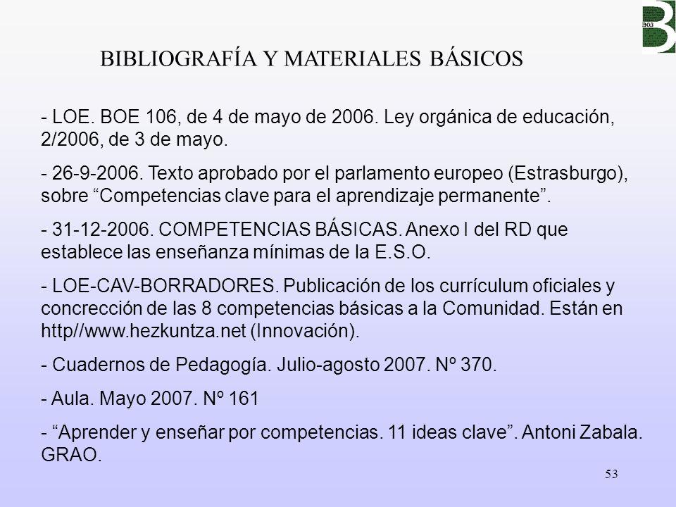 53 BIBLIOGRAFÍA Y MATERIALES BÁSICOS - LOE. BOE 106, de 4 de mayo de 2006. Ley orgánica de educación, 2/2006, de 3 de mayo. - 26-9-2006. Texto aprobad