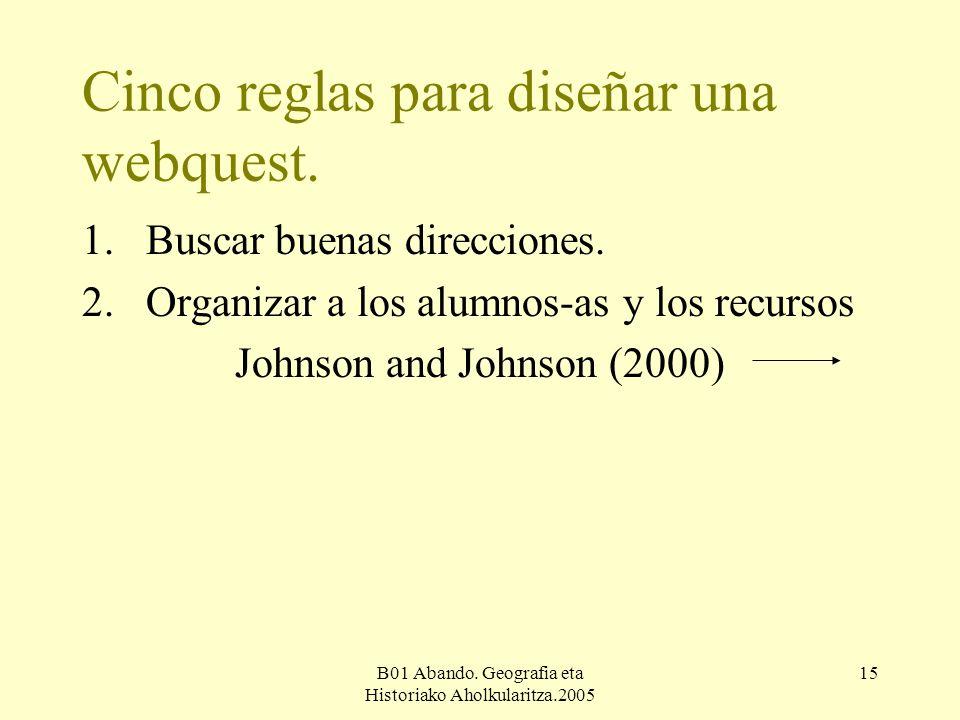 B01 Abando. Geografia eta Historiako Aholkularitza.2005 15 Cinco reglas para diseñar una webquest.