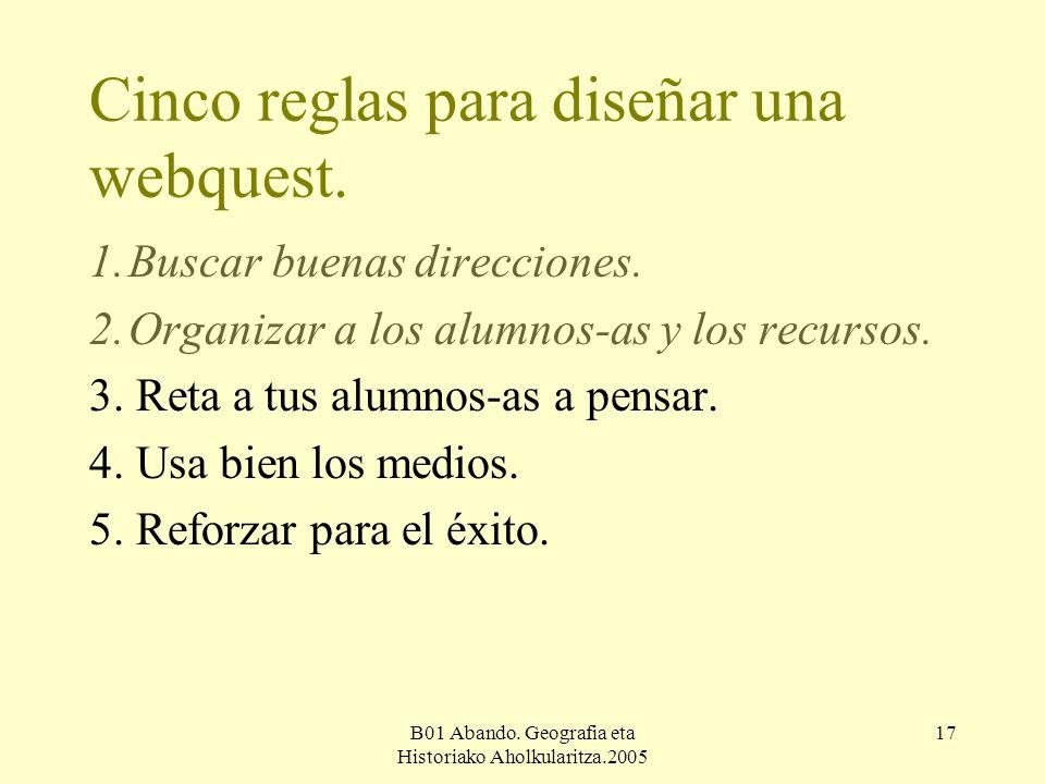 B01 Abando. Geografia eta Historiako Aholkularitza.2005 17 Cinco reglas para diseñar una webquest.