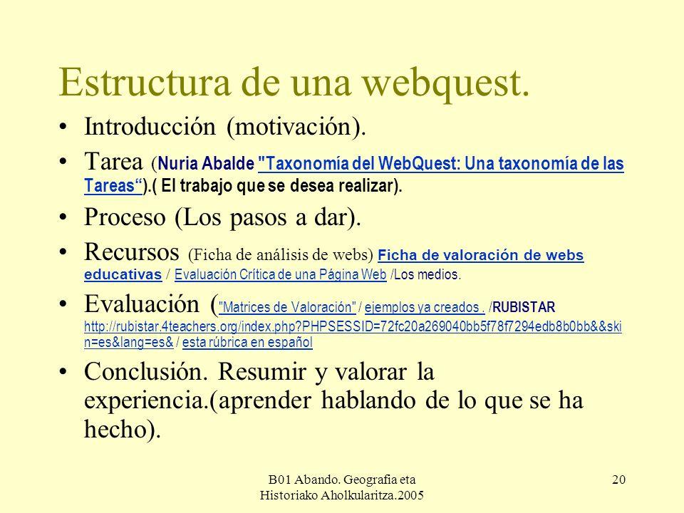 B01 Abando. Geografia eta Historiako Aholkularitza.2005 20 Estructura de una webquest.