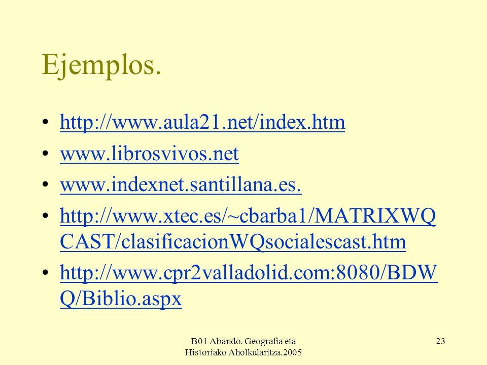 B01 Abando. Geografia eta Historiako Aholkularitza.2005 23 Ejemplos.