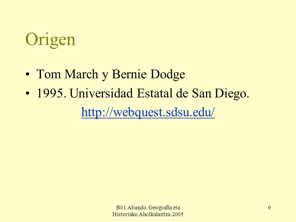 B01 Abando. Geografia eta Historiako Aholkularitza.2005 9 Origen Tom March y Bernie Dodge 1995.