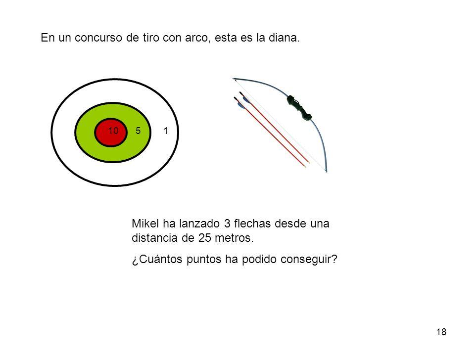 18 En un concurso de tiro con arco, esta es la diana. 1051 Mikel ha lanzado 3 flechas desde una distancia de 25 metros. ¿Cuántos puntos ha podido cons