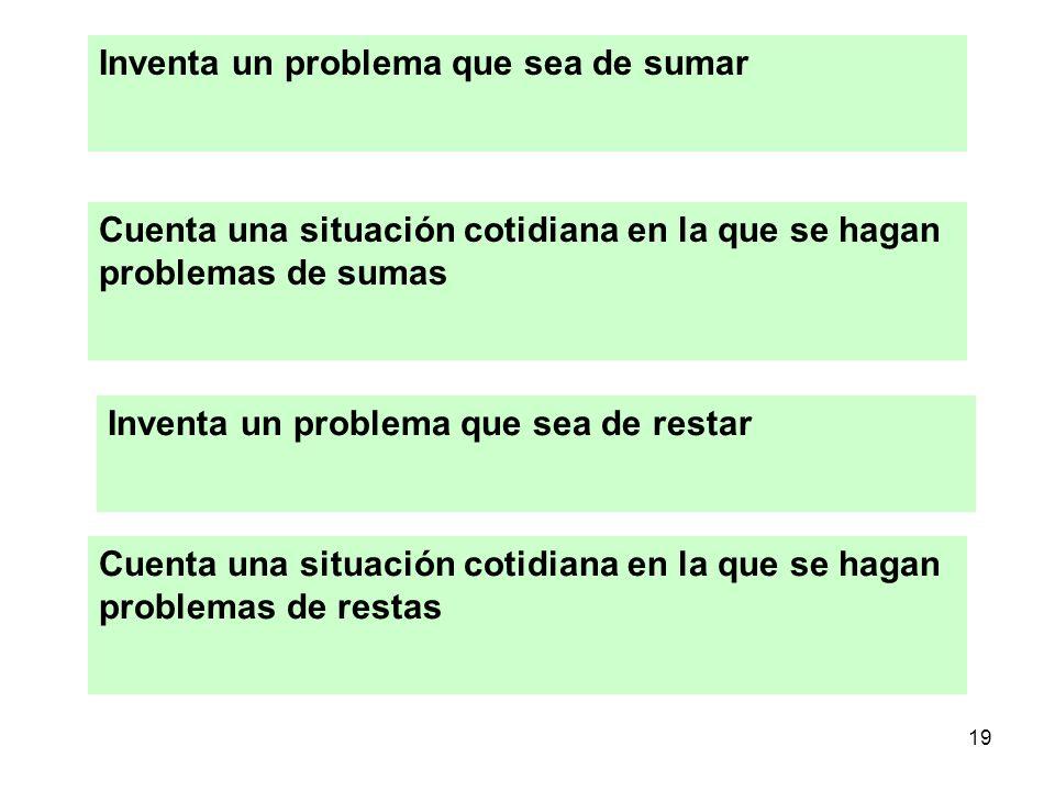 19 Inventa un problema que sea de sumar Cuenta una situación cotidiana en la que se hagan problemas de sumas Inventa un problema que sea de restar Cue