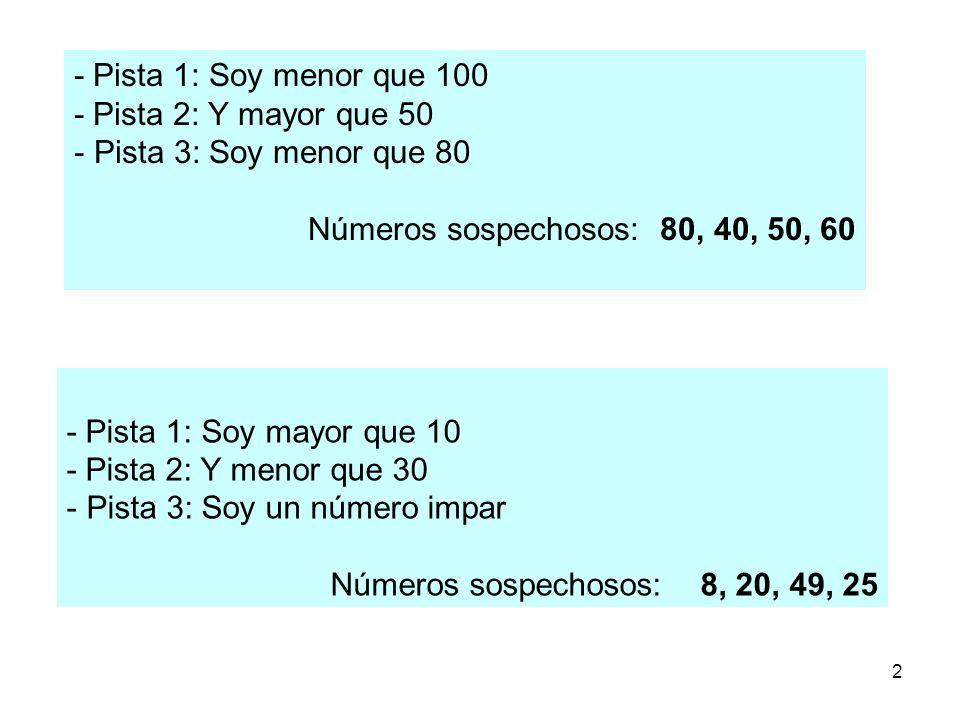 2 - Pista 1: Soy menor que 100 - Pista 2: Y mayor que 50 - Pista 3: Soy menor que 80 Números sospechosos: 80, 40, 50, 60 - Pista 1: Soy mayor que 10 -