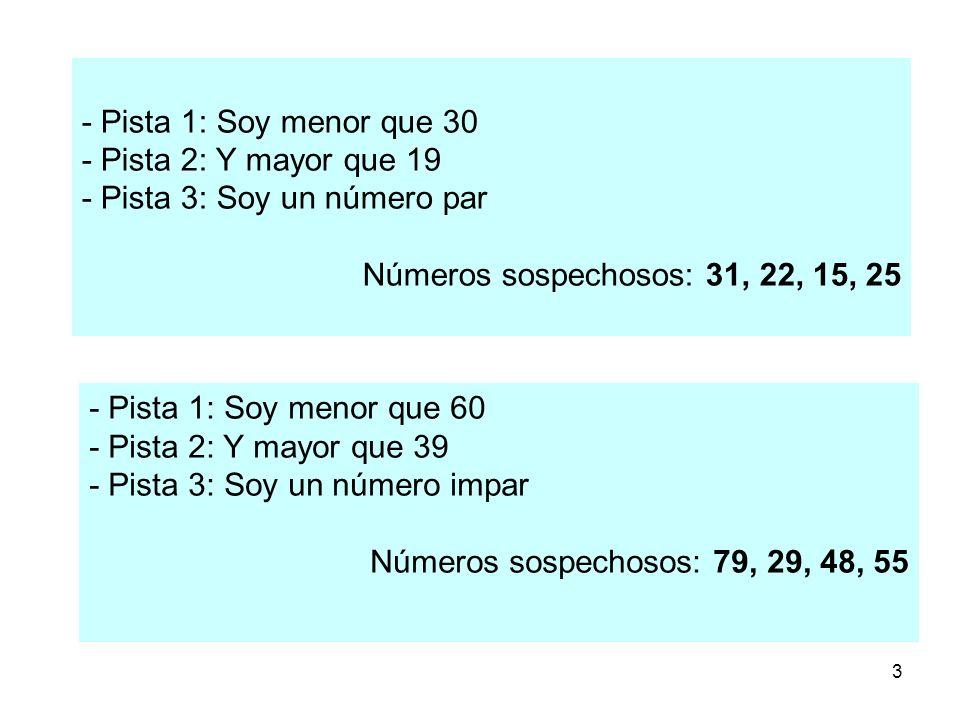 3 - Pista 1: Soy menor que 30 - Pista 2: Y mayor que 19 - Pista 3: Soy un número par Números sospechosos: 31, 22, 15, 25 - Pista 1: Soy menor que 60 -