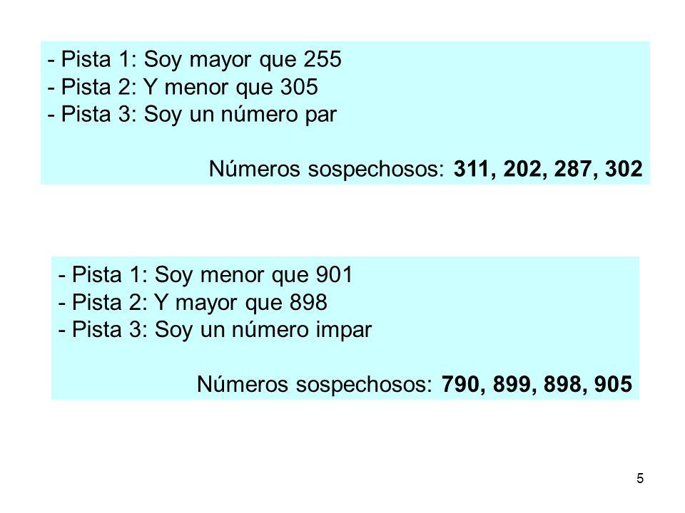 5 - Pista 1: Soy mayor que 255 - Pista 2: Y menor que 305 - Pista 3: Soy un número par Números sospechosos: 311, 202, 287, 302 - Pista 1: Soy menor qu