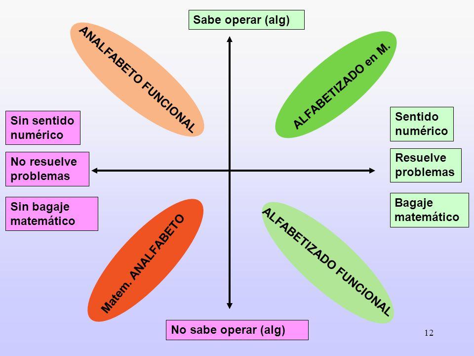 12 Sentido numérico Resuelve problemas Bagaje matemático Sin sentido numérico No resuelve problemas Sin bagaje matemático Sabe operar (alg) No sabe op