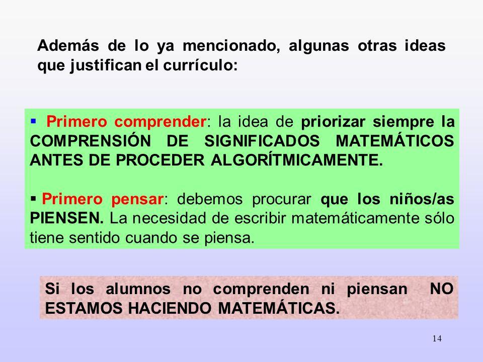 14 Además de lo ya mencionado, algunas otras ideas que justifican el currículo: Primero comprender: la idea de priorizar siempre la COMPRENSIÓN DE SIG