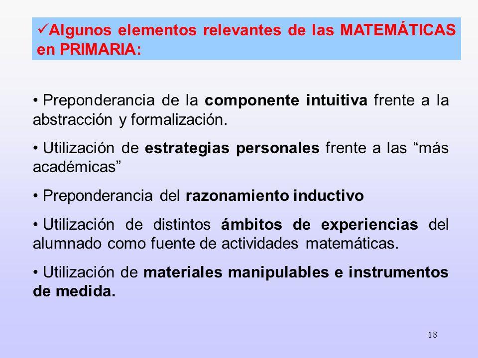18 Preponderancia de la componente intuitiva frente a la abstracción y formalización. Utilización de estrategias personales frente a las más académica