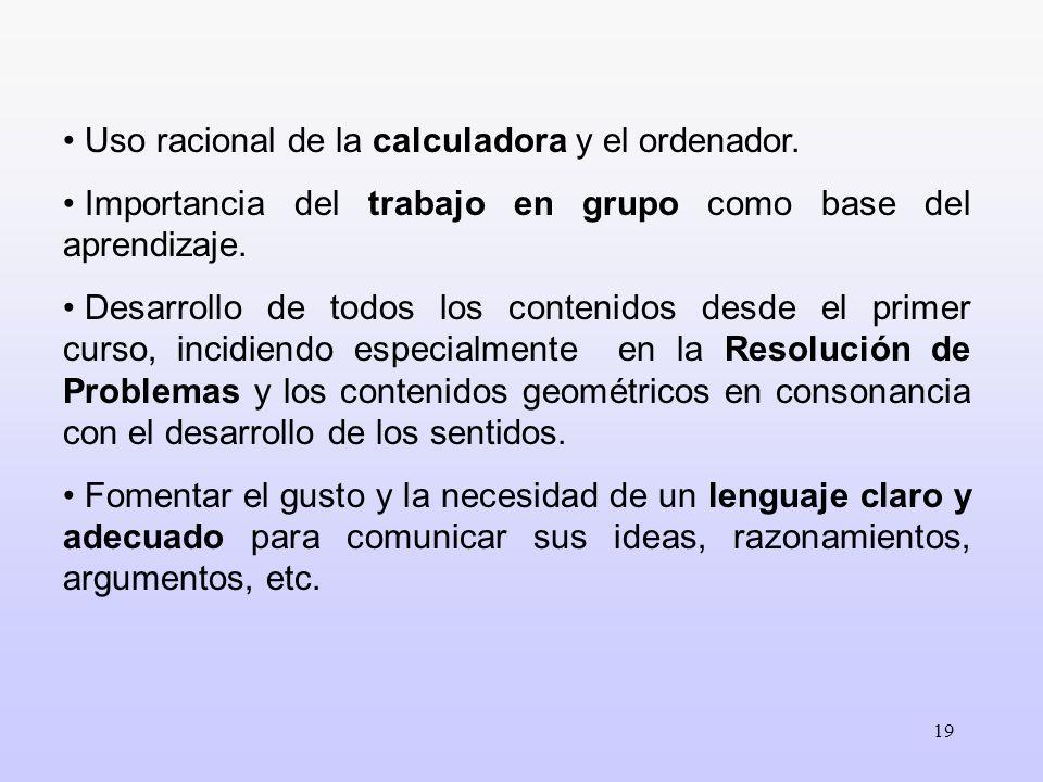 19 Uso racional de la calculadora y el ordenador. Importancia del trabajo en grupo como base del aprendizaje. Desarrollo de todos los contenidos desde