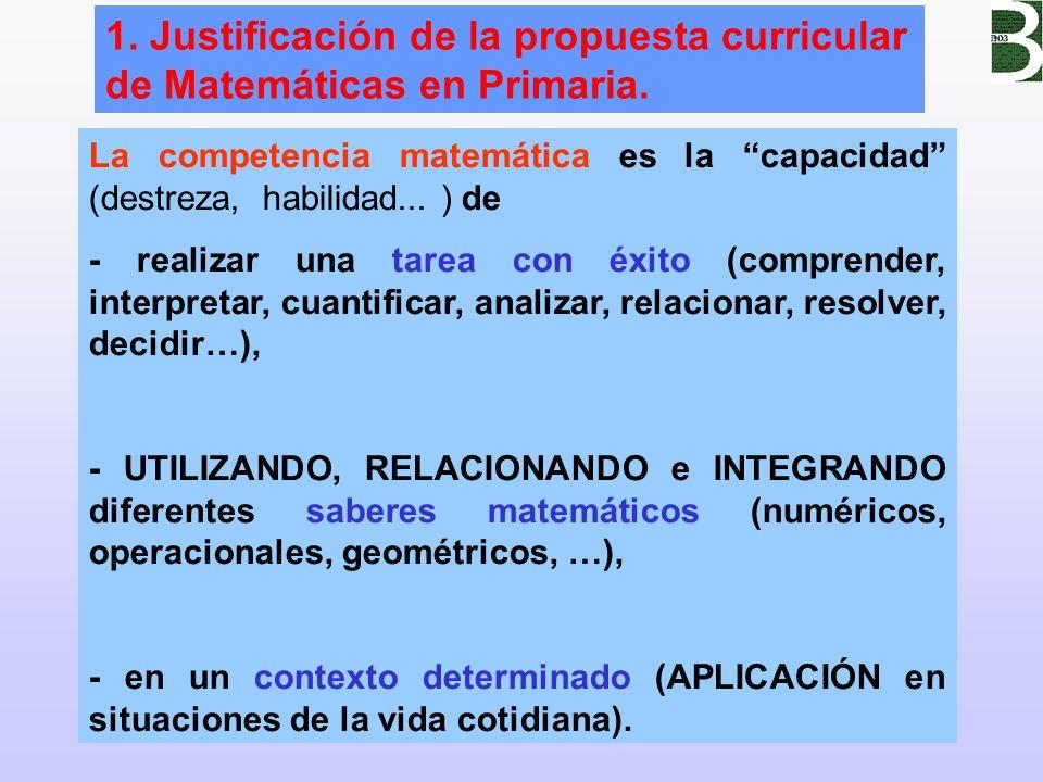 2 1. Justificación de la propuesta curricular de Matemáticas en Primaria. La competencia matemática es la capacidad (destreza, habilidad... ) de - rea